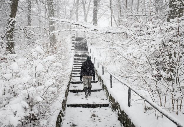 Sopot; śnieg; snow; schody; stairs