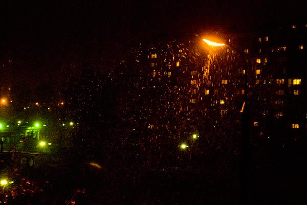 noc, night, światło, light, śnieg, snow