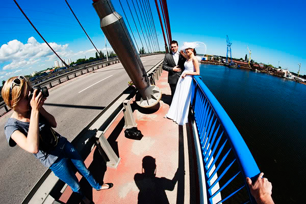 ślub, wedding, plener, most, bridge, rzeka, river, fisheye