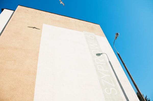 blok, block of flats, cień, shadow, niebo, sklep, shop, szyprówPolska, Poland, Gdańsk Żabianka, ptak, bird