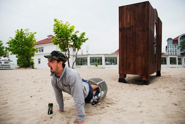 Sopot, plaża, beach, szafa, cupboard, kosz, rubbish bin