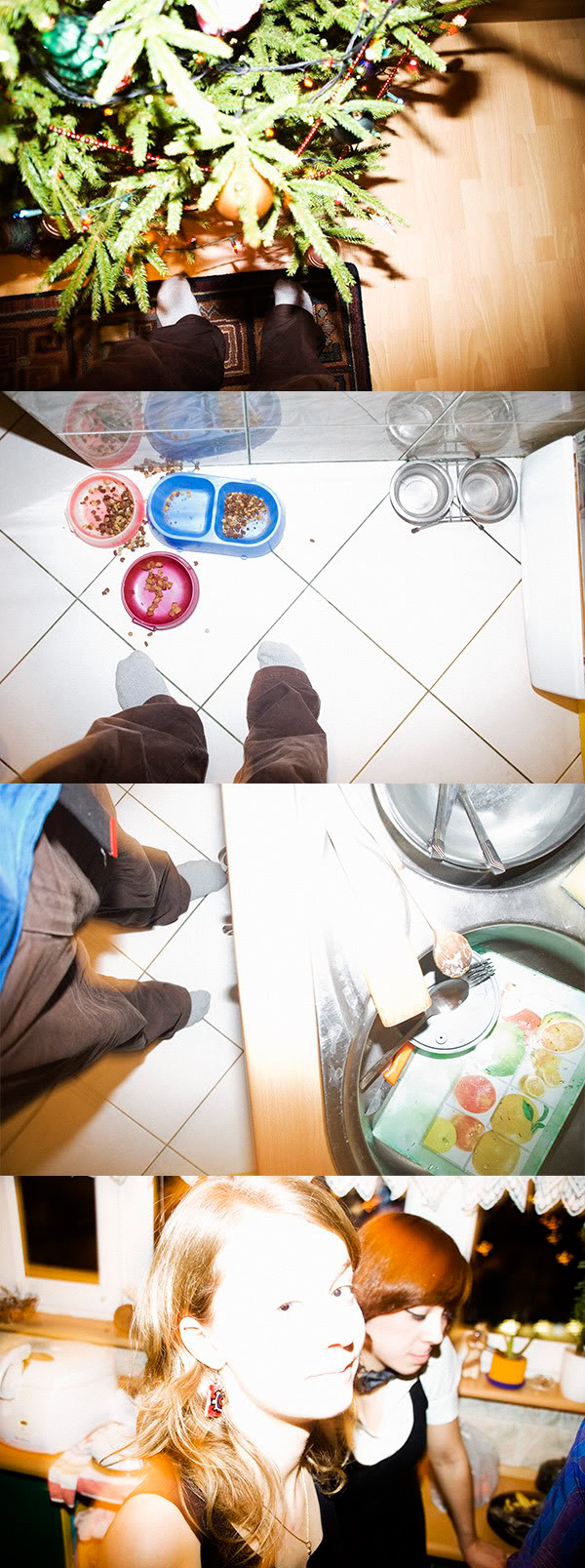 moje stopy, my legs, Natalia, Ada, Choinka, christmas tree, miski, bowls, bałagan, mess