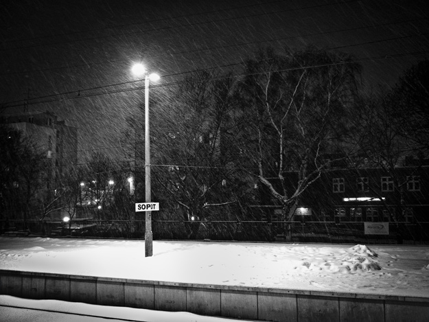 Sopot; Śnieg; Snow; Dworzec; Train station; peron; latarnia; lamp
