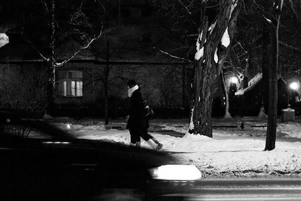 Night, street, people, car, snow, noc, ulica, ludzie, samochód, śnieg