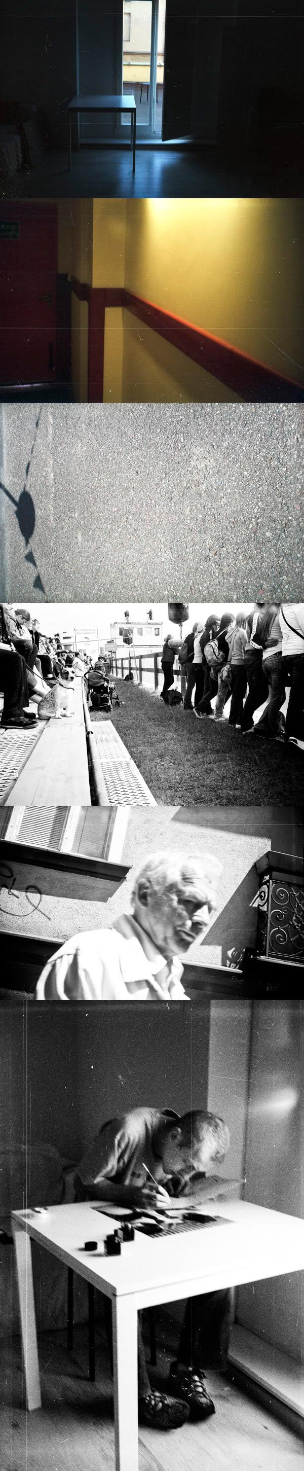 Światło, light, Cień, shadow, Tobiasz Skwarczyński, Korytarz, corridor, Lampa, a lamp, Pies, dog, tłum, crowd, stół, table, okno, window, drzwi, door, szkoła, school, smena, klisza, film, snap