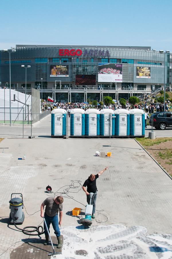 10 urodziny PO; platforma obywatelska; toi toi; praca; ERGO Arena; Gdańsk; Żabianka; Czerwiec; 2011;  toilets
