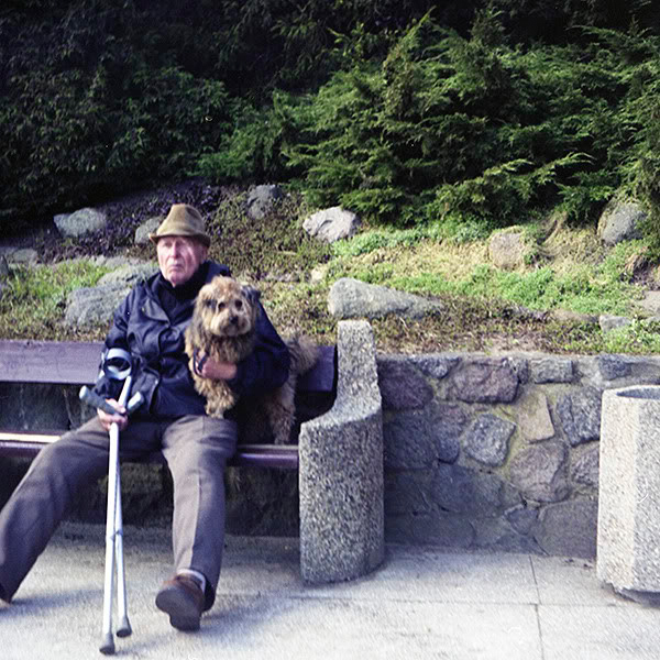 Starszy Pan, Old man, Pies, Dog, Ławka, Bench, Gdynia, kule, crutch