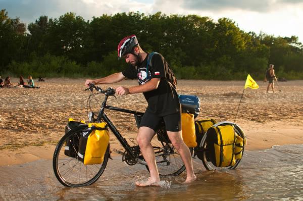 2011; Bartłomiej Wysocki; Bałtyk; Jan Faściszewski; Morze; Rower; Wyprawa; dookoła bałtyku; jelitkowo; lipiec; plaża; uniwersytet Gdański; sea; bicycle; bike; journey; travel; around; beach; university of Gdańsk