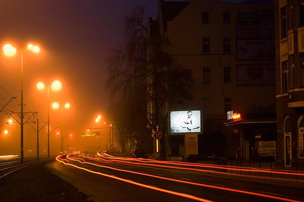 Wrzeszcz, stacja deluxe, noc, mgła, night, fog